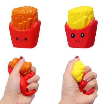Cute Face Emoji French Fries Squishy 10CM Slow Rising Straps Pendant Soft Squeeze Scented Bread Toy