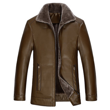 Winter Mens Brown Leather Fur Collar PU Leather Plus Velvet Thick Casual Warm Jacket Male