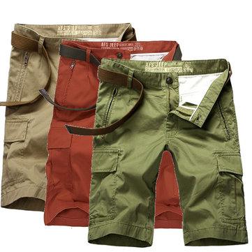 Summer Mens Casual Pants Shorts Fashion 100% Cotton Beach Knee Shorts