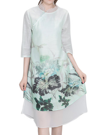 Buy Women Chinese Style Flower Printed Chiffon High Low Dress for $32.88 in Banggood store