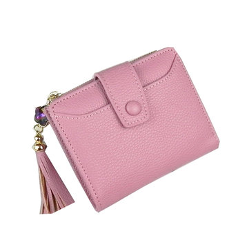Stijlvolle PU Leather Short Tassel Portemonnee Card Holder Purse