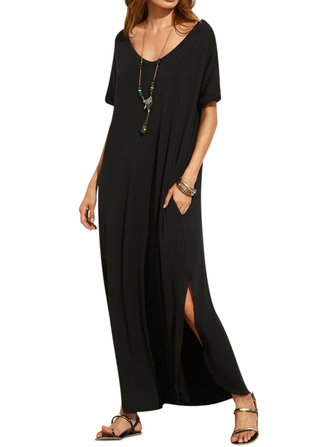 ZANZEA Women Casual V-Neck Backless Long Maxi Split Dresses