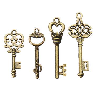 4 ชิ้น Vintage Bronze Key สำหรับจี้สร้อยคอสร้อยข้อมือ DIY เครื่องประดับทำด้วยมือ