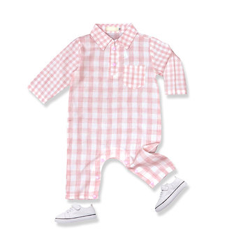 Mooie Baby Plaid One-Pieces Lange Mouw Katoenen Suits