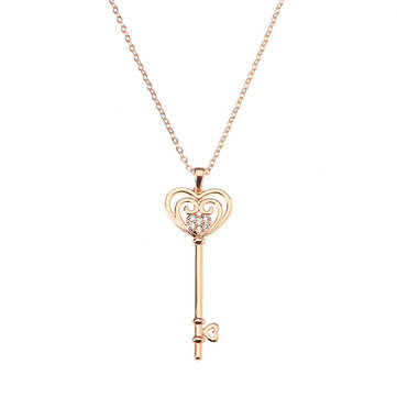 JASSY® Fine Jewelry Sweet Rose Gold Plated Heart Key Pendant Zircon Long Necklace Sweater Chain