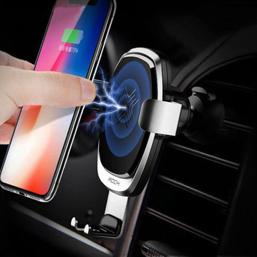 ROCK 10W Qi Wireless Fast Car Charger Metal Gravity Auto Lock Phone Holder Stand for Samsung iPhone X 8