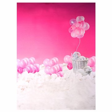5x7ft Silk Pink Ballon Sheep Cloud Photography Backdrops Background Photo Studio Props