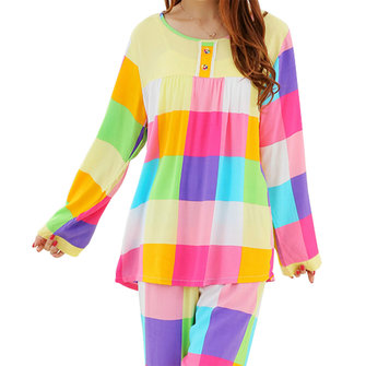 Lovely Lady Colorful Checked Floral Printing Long Sleeve Pajamas Sets Sleepwear