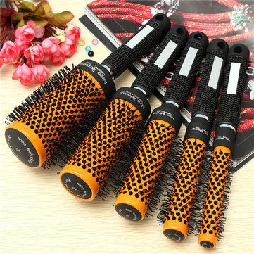 Professional Salon Round Hair Brushes Aluminum Comb 5 Sizes Orange