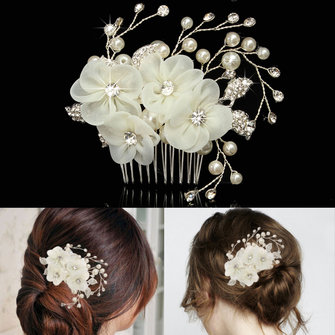 Bride Beige Flower Rhinestone Pearl Hair Comb Elegant Wedding Prom Bridal Headpiece