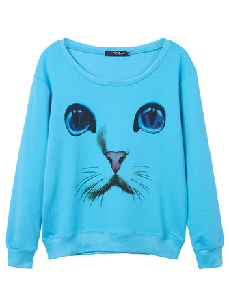 Casual 3D Cat Printed Long Sleeve Round Neck Women Pullover Sweatshirt