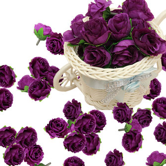 50pcs 3cm Purple Artificial Silk Roses Flower Heads Wedding Party Decoration DIY Craft