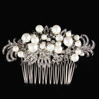 Bridal Artificial Pearl Crystal Rhinestone Flowers Diamante Hair Clip Comb Bride Wedding Headpiece