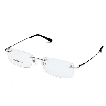 Unisex Rimless Glasses Retro Clear Memory Optical Eyeglasses Titanium Spectacles Frame
