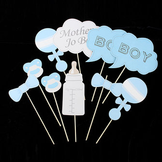10pcs babyparty photo booth props party girl boy for Dekoration babyparty