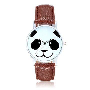 Fashion Cute Panda Pattern PU Leather Band Analog Quartz Wrist Watch