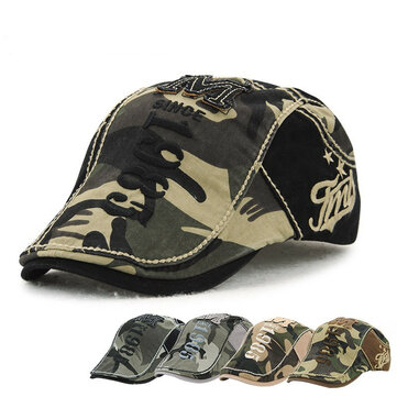 Buy Unisex Cotton Camouflage Beret Hat Buckle Adjustable Paper Boy Military Cabbie Golf Gentleman Cap