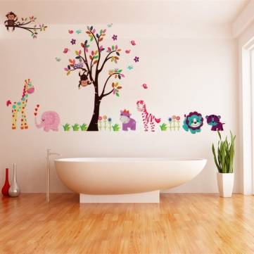 High Quality 2Pcs Large Jungle Tree Wall Sticker Kids Nursery Decals Girls Bedroom Mural  Animals Part 29