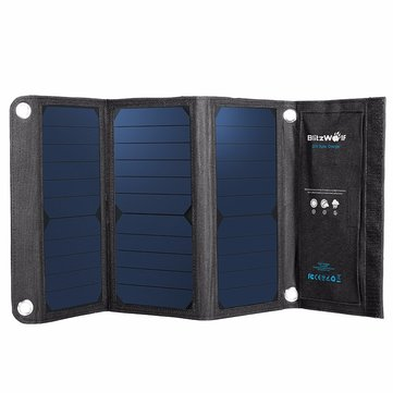 BlitzWolf® 20W 3A BW-L1 Foldable Portable Sun Power Solar Charger USB Solar Panel Charger with Power3S for iPhone 6s / 6 / Plus, iPad Air / mini, Galaxy S6 and More