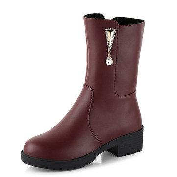 Women Winter Keep Warm Crystal Fashion Mid-Calf Boots