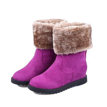 Women Winter Warm Boots Fold Snow Boots Increased Mid Calf Snow Boots