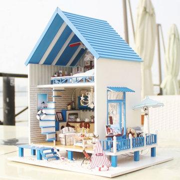 CuteRoom A-018-A Romantic Aegean Sea DIY Dollhouse Miniature Model With Light Music Gift Collection