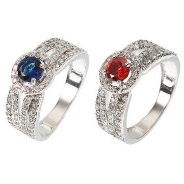우아한여성반지럭셔리화이트골드 도금 사파이어 루비 알레르기 웨딩 신부의 반지 최고의 선물