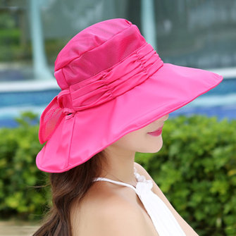 Face Neck Protactive Wide Brim Bucket Hat Mesh Breathable Outdoor Sunscreen Beach Hats For Women