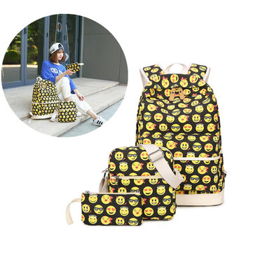 IPRee® 3pcs Women Girls Emoji Canvas Backpack Funny Cute Yellow Daypack Pouch