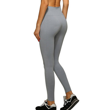 Women Yoga Pants Solid Color Fitness Sports Tight Leggings High Elastic Slim Fit Push Up Seamless
