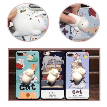 Bakeey™ Cartoon 3D Squishy Squeeze Slow Rising Cute Soft Lazy Cat PC Case for iPhone 7/8/7Plus/8Plus