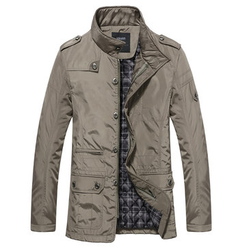 Plus Size Mens Thicken Warm Waterproof Casual Jacket Business Slim Fit Cotton Coat