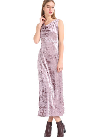 Pink Elegant Sleeveless Pile Collar Women Side Slit Velvet Maxi Dresses