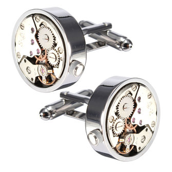 Men Male Silver Mechanical Watch Pattern Cuff Links Wedding Gift Suit Shirt Accessories