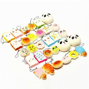 Kawaii 10Pcs Exquisite Squishy Random Charm Soft Panda/Bread/Cake/Buns Phone Straps Toys Decor