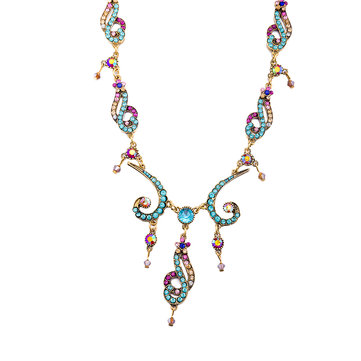 Irregular Streamline Statement Necklace Colourful Crystal Fashionable Women Jewelry Wholesale