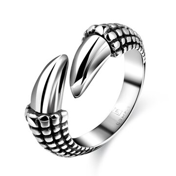 Cool Punk Halloween Ring Titanium Steel Dragon Claws Ring Gothic Men Jewelry