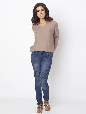 Casual Vrouwen Stretch geplooide hoge taille Skinny Jeans
