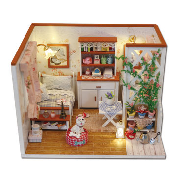 Hoomeda M024 DIY Dollhouse Miniatures Model Kit Little Happiness Assembling Handcrafteds Creative Gift