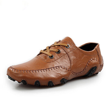 Men Soft Leather respirável Oxfords Octopus Padrão Rubber Sole Driving Shoes