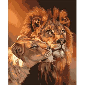 Buy Painting By Numbers Digital Oil Painting DIY Oil Kits Lion Frameless Canvas Home Wall Decor 40x50cm for $9.99 in Banggood store