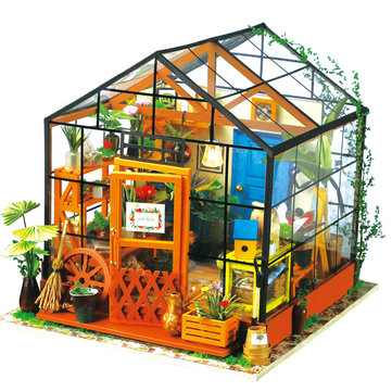 Robotime 1/24 DIY House Kit Cathy Flower Greenhouse DG104 Gift Collection Assembly miniatuurmodel