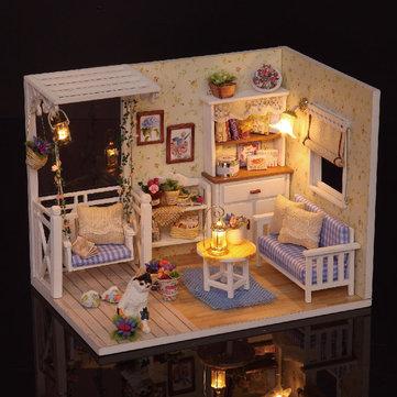 Image of Cuteroom 1/24 Dollhouse Mini-DIY Kit mit LED Leichte Abdeckung Holz Spielzeug Puppe Haus Zimmer Kitten Tagebuch H-013