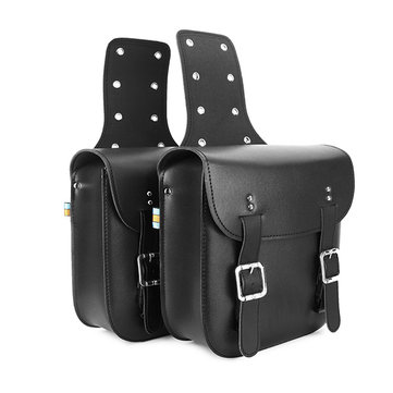 Pair Motorcycle Saddlebags Tool Bag Double Buckle Strap Black