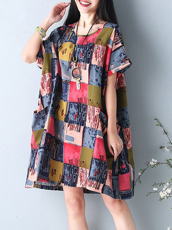 O-NEWE S-5XL Women Casual Dress Loose Boho Round Neck Floral Printed Dresses