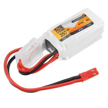 ZOP Power 11.1V 350mAh 70C 3S Lipo-batterij JST-plug