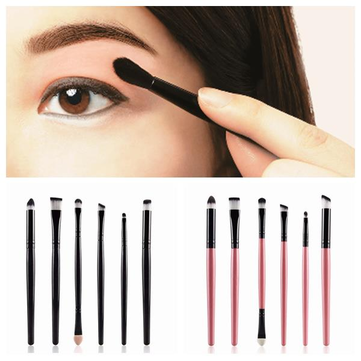 MAAGE 6pcs Eye Brushes Set Concealer Eyeshadows Canthus Corner of Mouth Makeup Green Black Pink