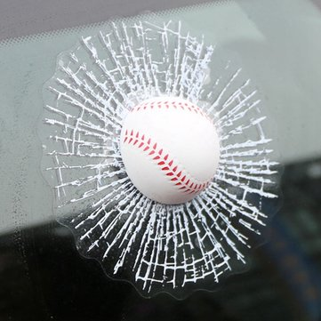 3D Baseball Hit Car Sticker Wind Shield Window Glass Adhesive Decal