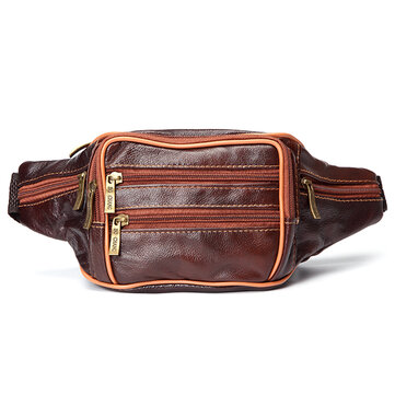 Men Genuine Leather Crossbody Bag Leisure Outdoor Building Travel Hiking Waist Bag