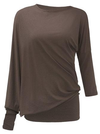 느슨한섹시한여성솔리드터틀넥Batwing 슬리브 불규칙한 티셔츠